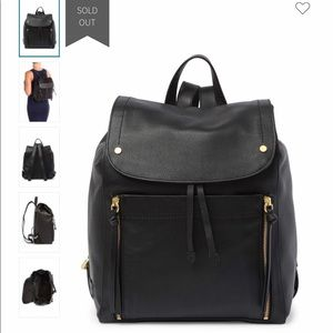 NWT Cole Haan black leather backpack antique gold
